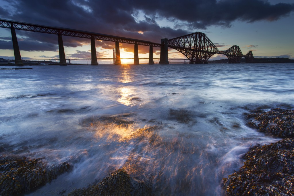 Sunset behind the Forth Rail Bridge
