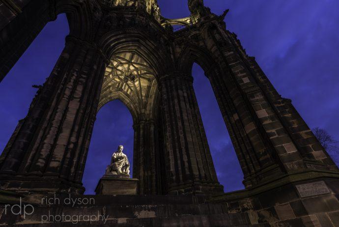 The Scott Monument in Edinburgh during the blue hour