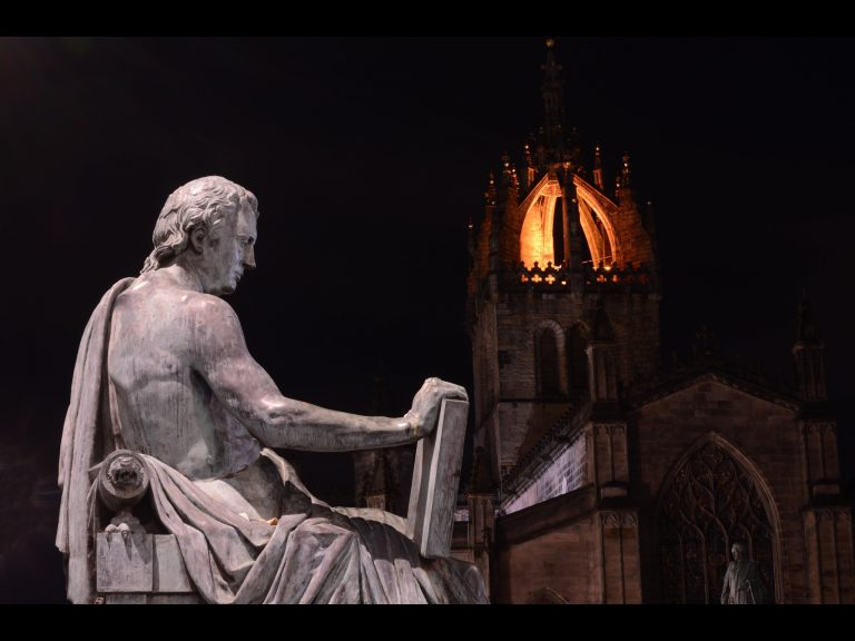 <p>Night photography image of David Hume statue and St Giles on the Royal Mile in Edinburgh taken on the Edinburgh Photography Workshop Night Photography session</p>
